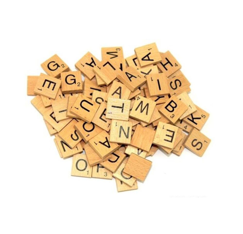 100 wooden scrabble tiles black letters numbers for crafts wood alphabets ebay. Black Bedroom Furniture Sets. Home Design Ideas