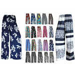 LADIES FLORAL PRINT PALAZZO TROUSERS WOMENS SUMMER WIDE LEG PANTS PLUS SIZE 8-26