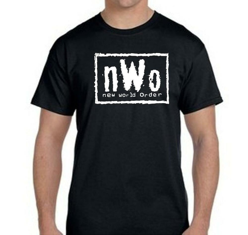 New world order t shirt nwo logo wcw professional for Shirts with small logos