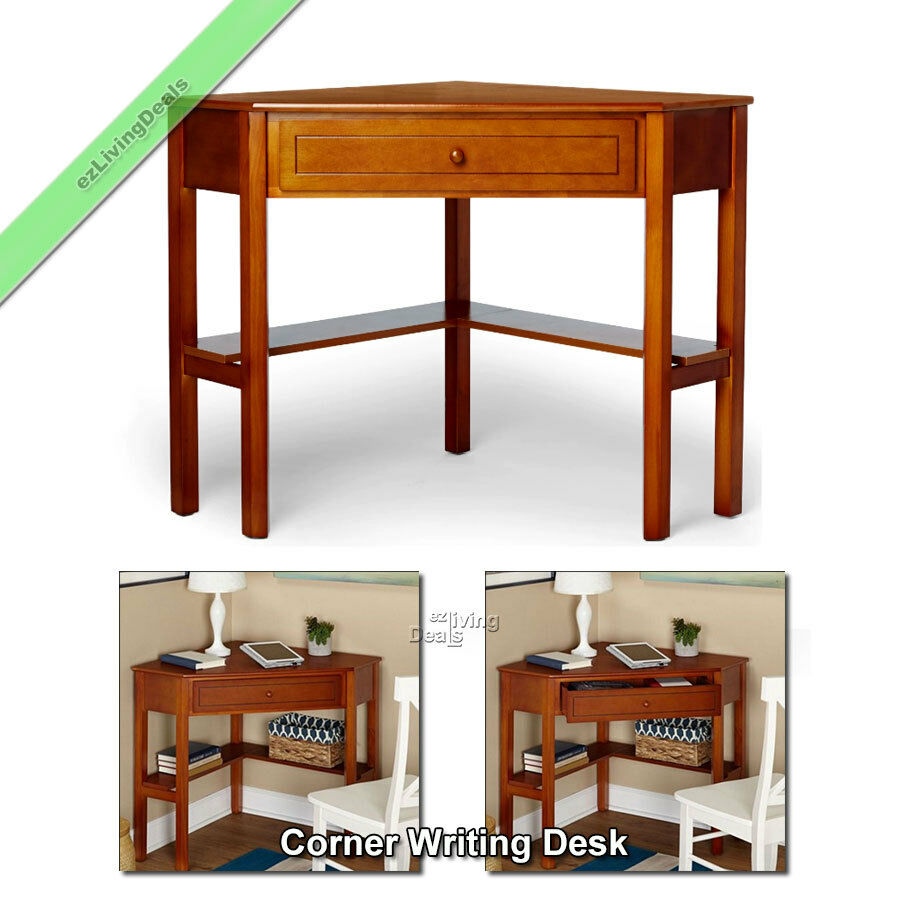 corner writing desk laptop computer table home office small wood desks cherry ebay. Black Bedroom Furniture Sets. Home Design Ideas