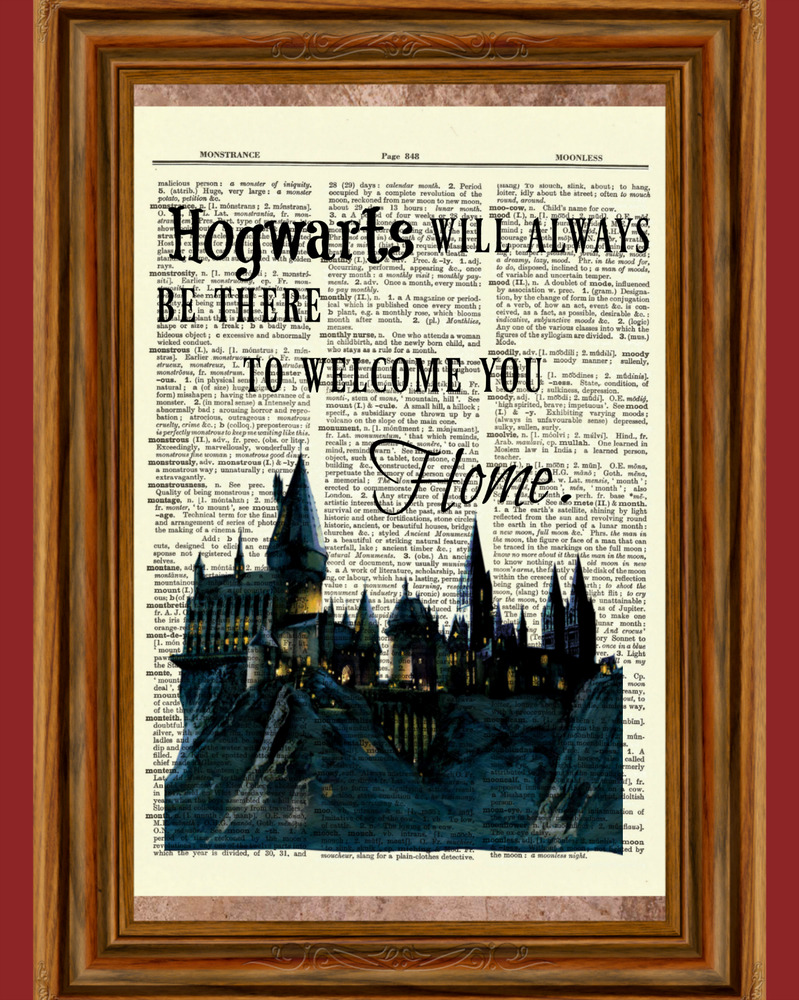 hogwarts castle quote dictionary art print harry potter picture poster home ebay. Black Bedroom Furniture Sets. Home Design Ideas