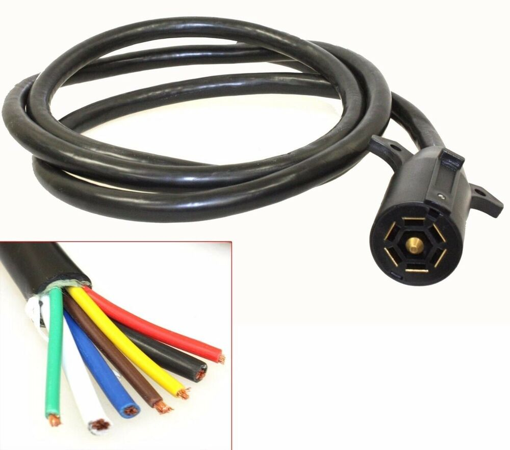 7ft Foot 7 Way Trailer Cord Wire 7 U0026 39  Harness Light Plug Connector Molded Rv Cable