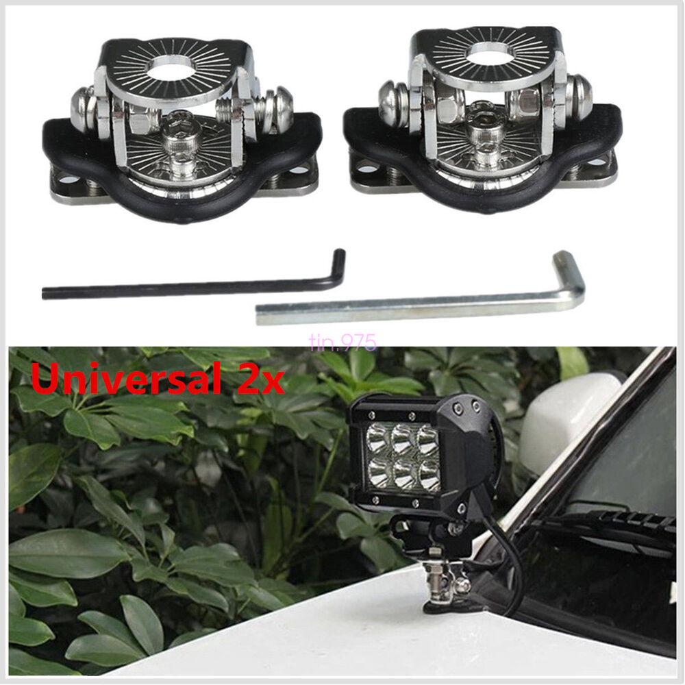 2pcs A Pillar Hood Led Work Light Bar Mount Bracket Clamp