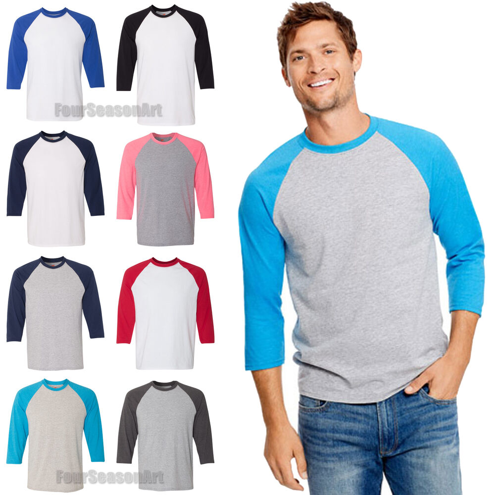 Hanes Mens X-Temp Three Quarter Sleeve Baseball T Shirt 3 ...