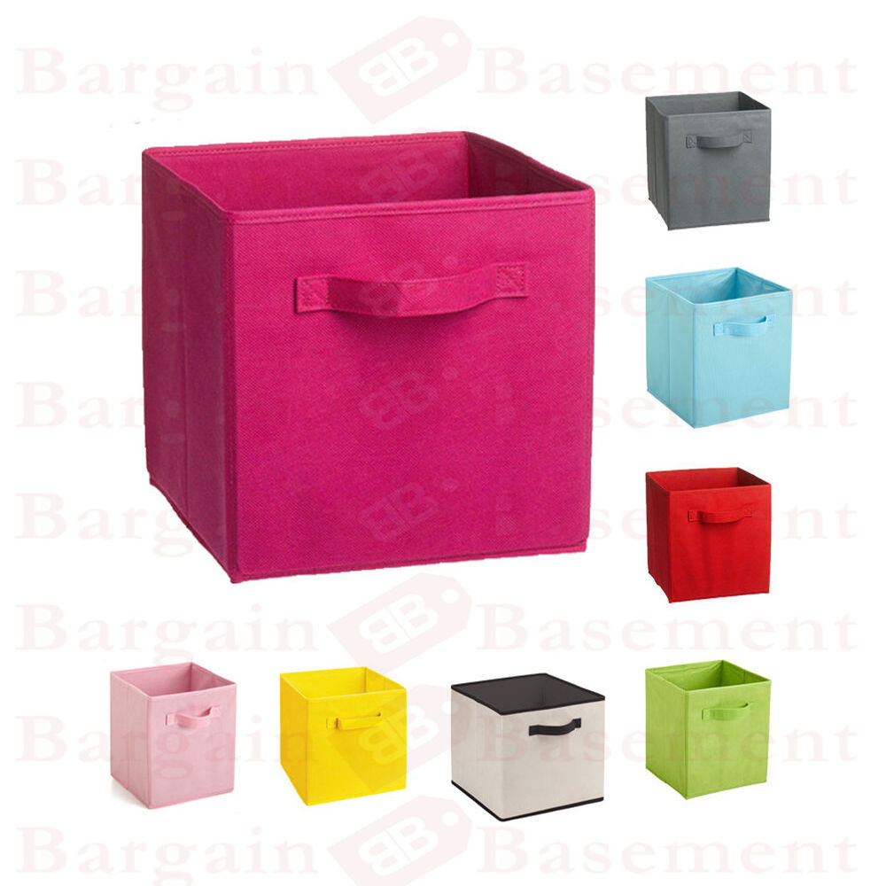4 x foldable storage collapsible folding box home clothes organizer fabric cube ebay. Black Bedroom Furniture Sets. Home Design Ideas