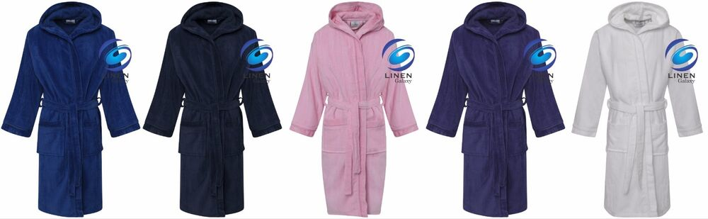 73e2d969bc Kids Boys Girls 100% Pure Cotton Velour Terry Towelling Bath Robe Hooded