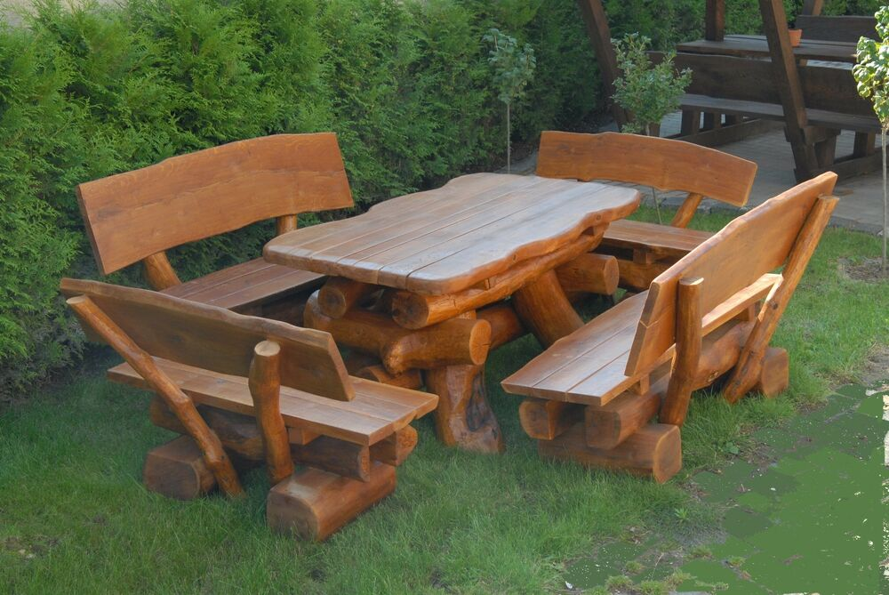 rustikale gartenm bel holz massiv sitzgruppe tisch bank esche ebay. Black Bedroom Furniture Sets. Home Design Ideas