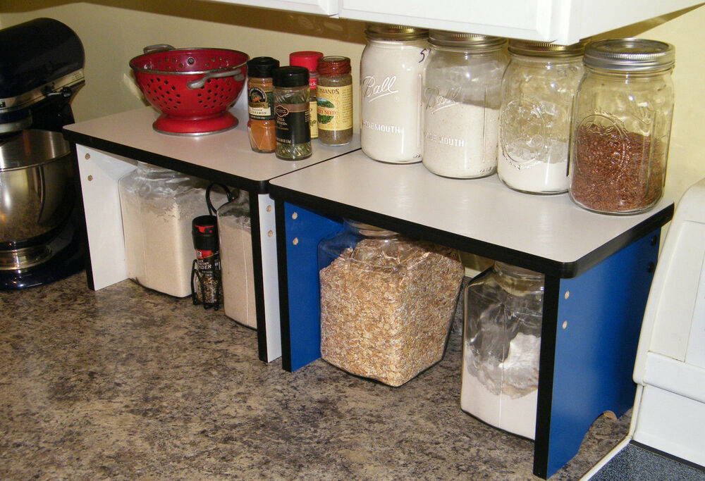 Kitchen Counter Small Shelves Shelf Organizer Wood Storag Canister Stackable Ebay