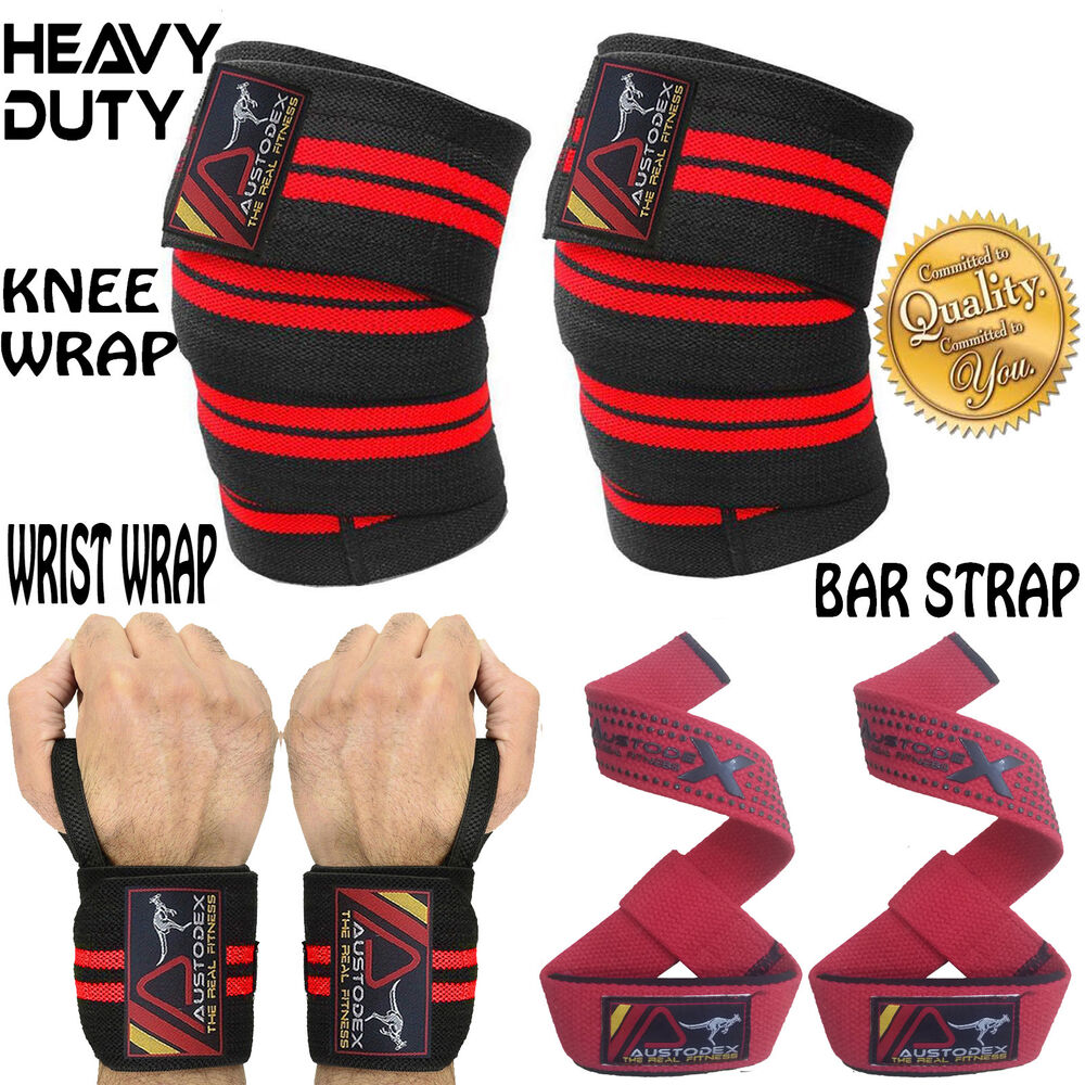 Quality Gym Weight Lifting Strap Heavy Duty Wrist: Weight Lifting KNEE WRAP BodyBuilding Gym Training Support