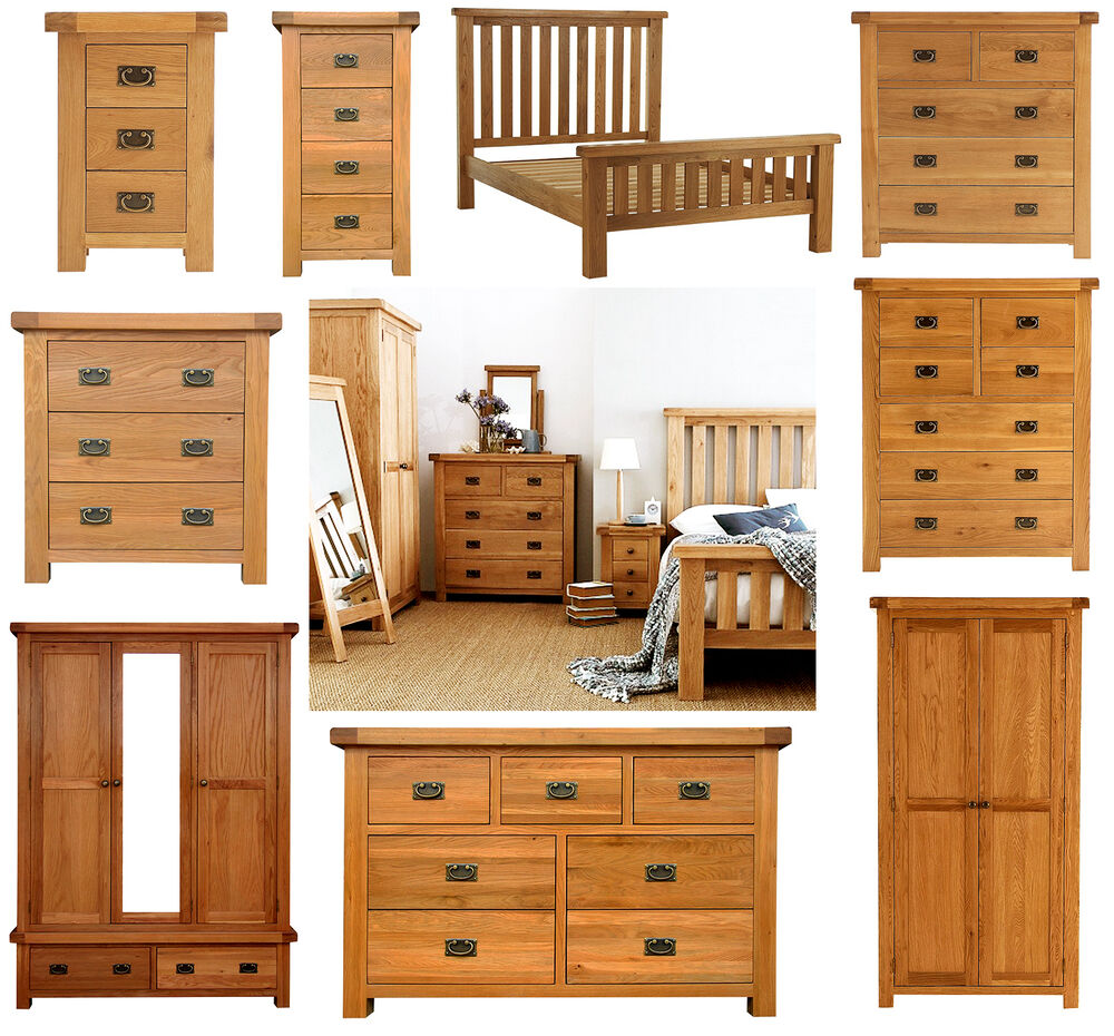 Chunky solid oak bedroom furniture set wardrobe drawers - Bedroom sets with drawers under bed ...