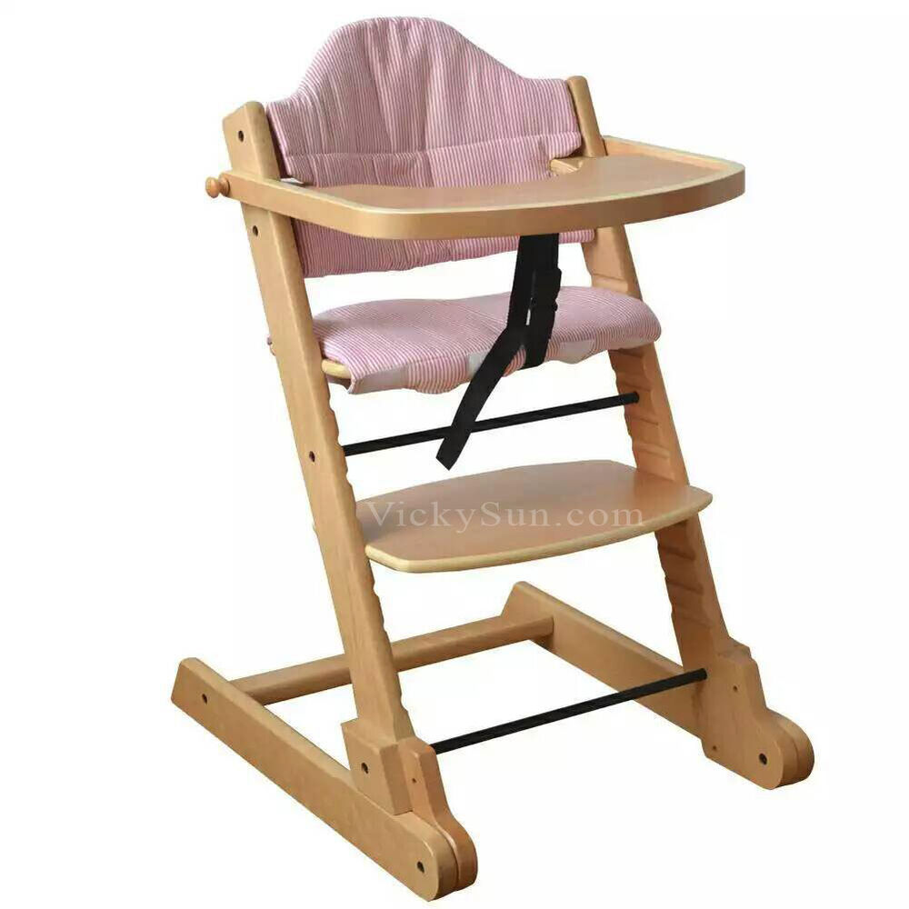 Solid Natural Wooden Foldable Baby High Chair with Tray