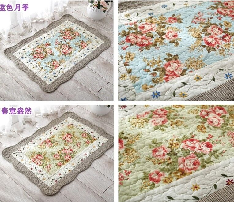 French Country Shabby Chic Cottage Floral Blue Quilted