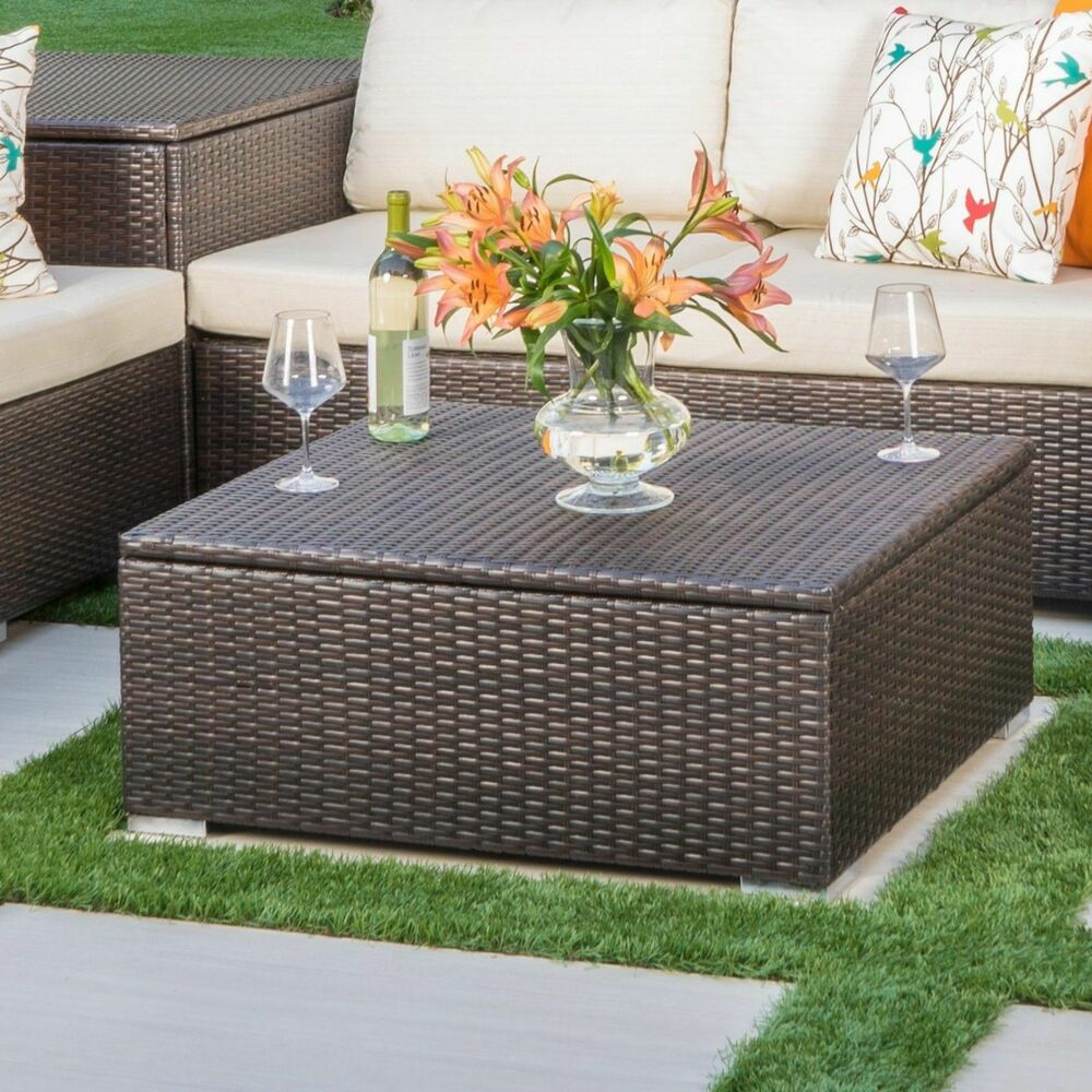 Bamboo Coffee Table Outdoor: Costa Mesa Outdoor Multibrown Wicker Coffee Table With