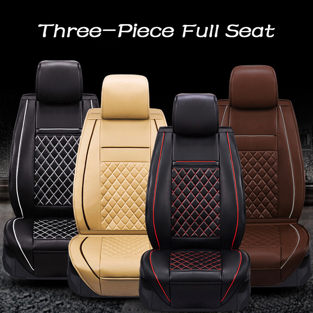 luxury breathable full seat pu leather car seat cover cushion pad 3d surround ebay. Black Bedroom Furniture Sets. Home Design Ideas
