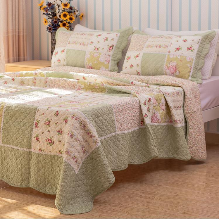 Floral Green Patchwork Cotton Quilt Coverlet Bedspread Set