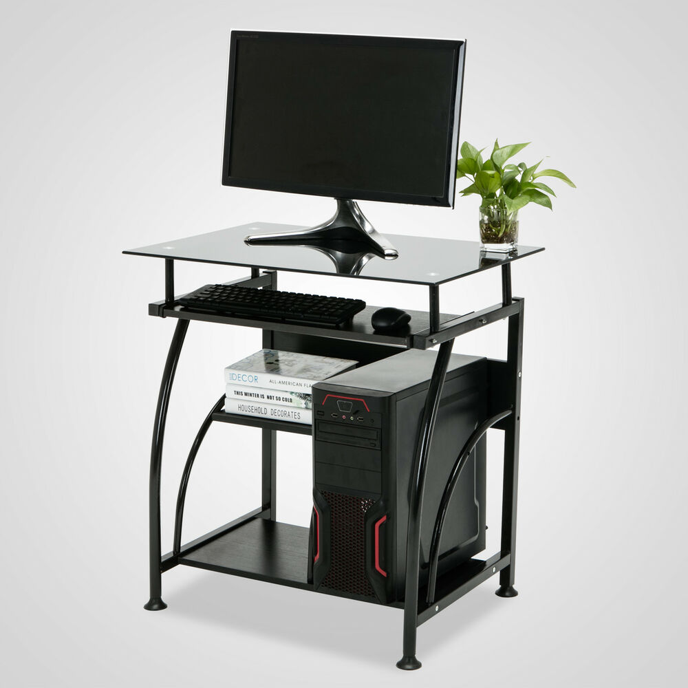 Home office corner black computer desk pc laptop table for Home office workstation desk