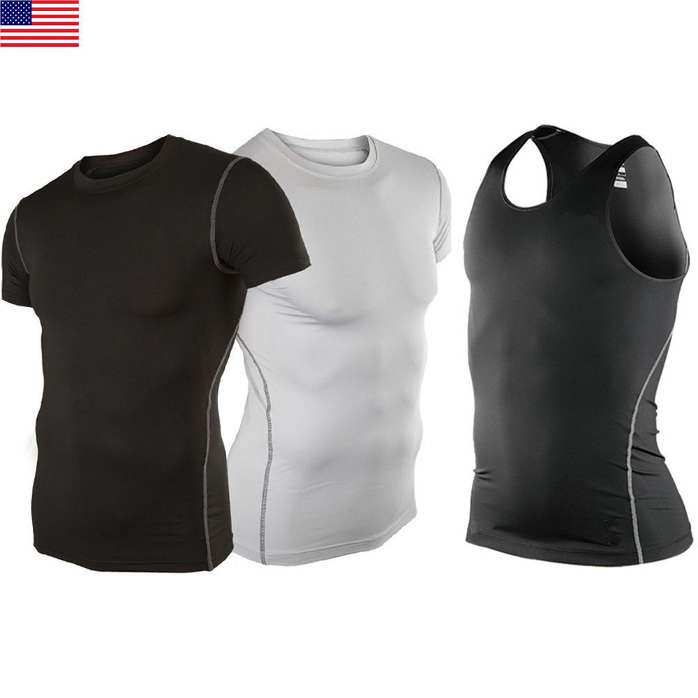 Mens compression under base layer top tight short sleeve t for Best short sleeve shirts