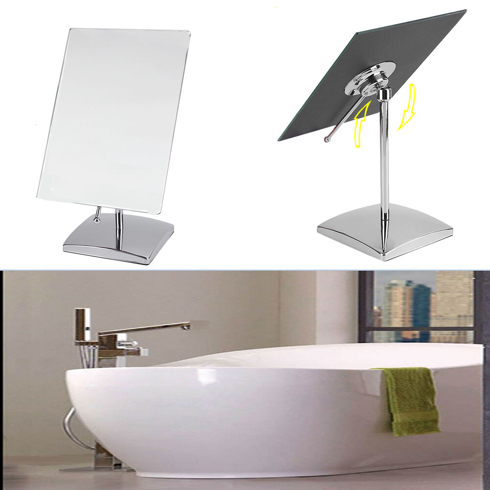 free standing swivel table mirror on stand bathroom shaving makeup chrome ebay. Black Bedroom Furniture Sets. Home Design Ideas