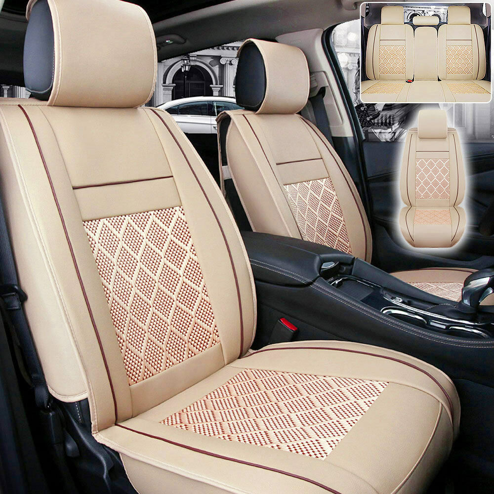 5 Seats Car Seat Cover Pu Leather Ice Silk Needlework Front Rear Beige Universal Ebay