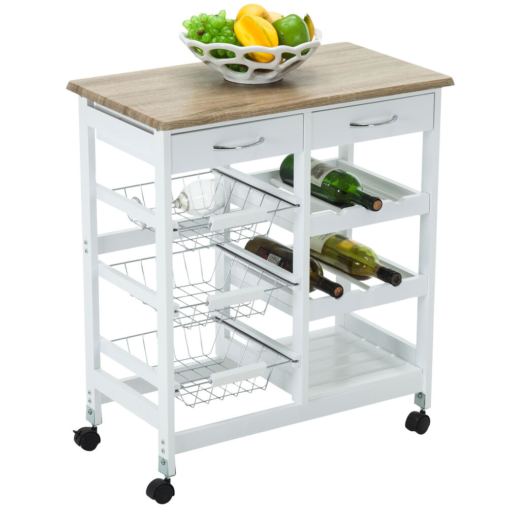 Kitchen Island Bench For Sale Ebay: White Kitchen Island Cart Trolley 2 Drawers Rolling