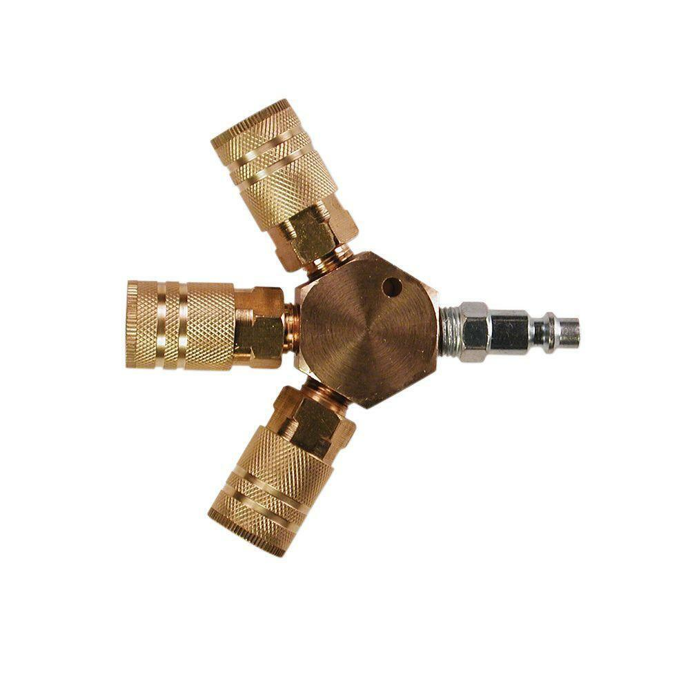 Details about   Primefit Air Compressor Pneumatic 3 Line Hex Manifold Brass Couplers Accessory