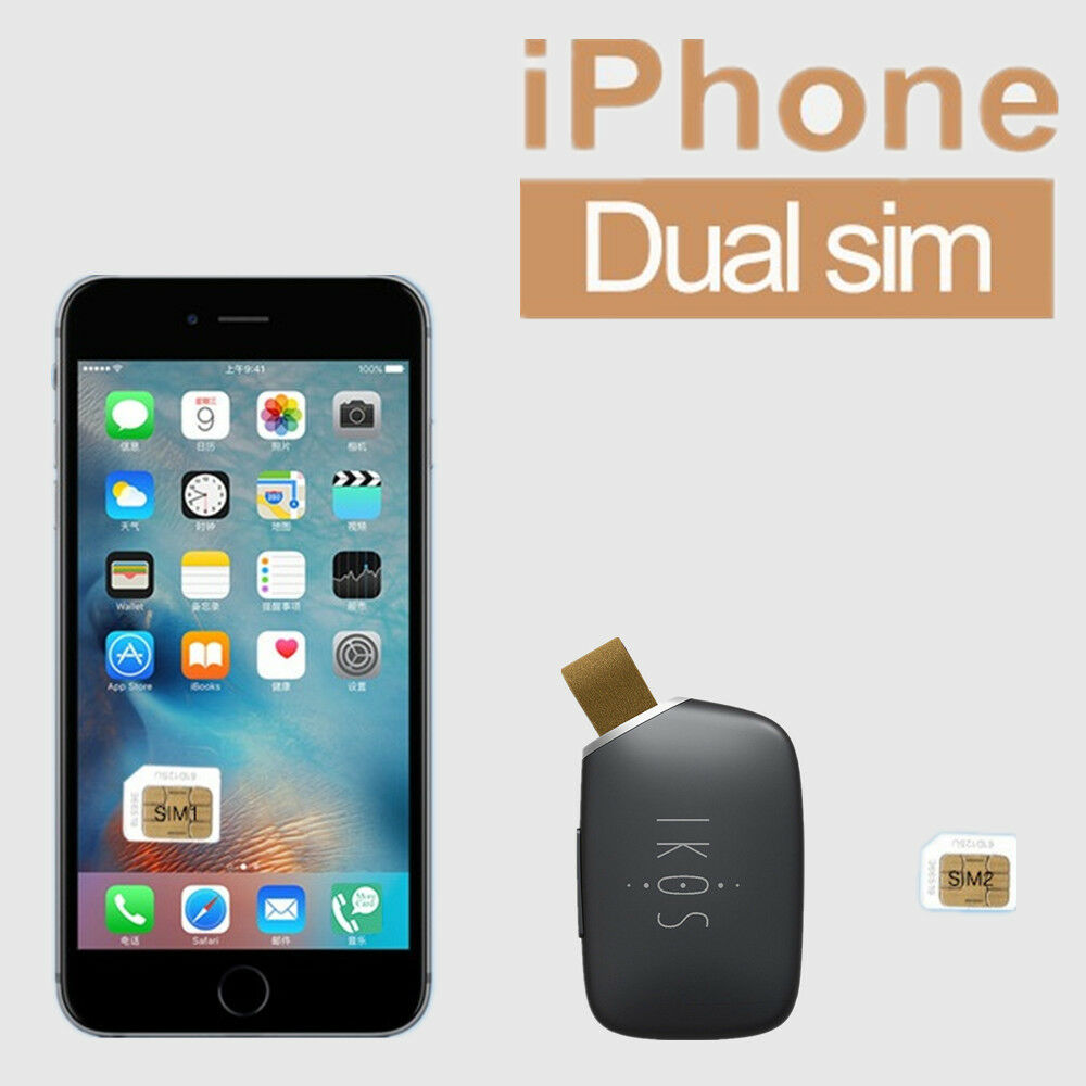 ikos bluetooth app adapter dual sim card dual standby for iphone 7 plus 6s 6 se ebay. Black Bedroom Furniture Sets. Home Design Ideas