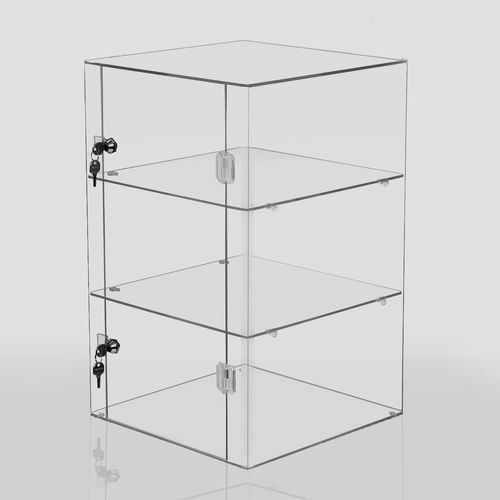 Lockable Clear Acrylic Display Cabinet Shelved Countertop   2 Sizes  Available UK