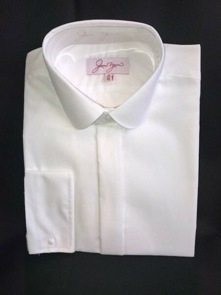 """X//LS WHITE Slimmer Penny Round Collar Shirt DOUBLE CUFF Wedding//Prom 14.5/""""-19.5/"""""""
