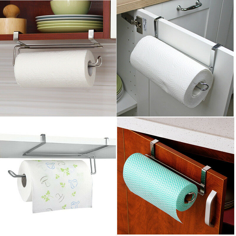Details About Kitchen Toliet Roll Paper Towel Holder Stainless Steel Under Cabinet Door Home