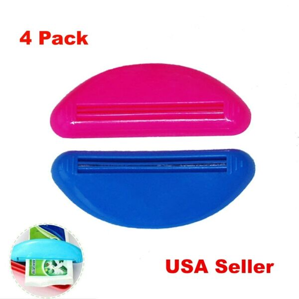 4 Ez Plastic Tube Squeezer Toothpaste Dispenser Holder Rolling Bathroom Extract