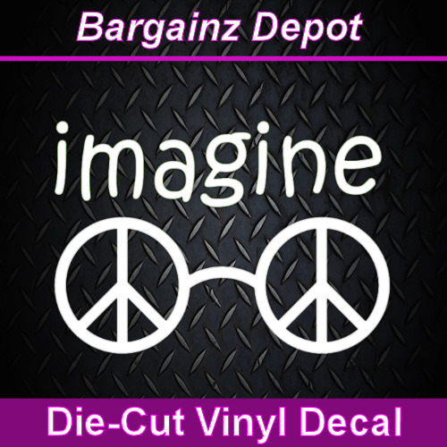 Vinyl Decal Imagine Peace Glasses John Lennon