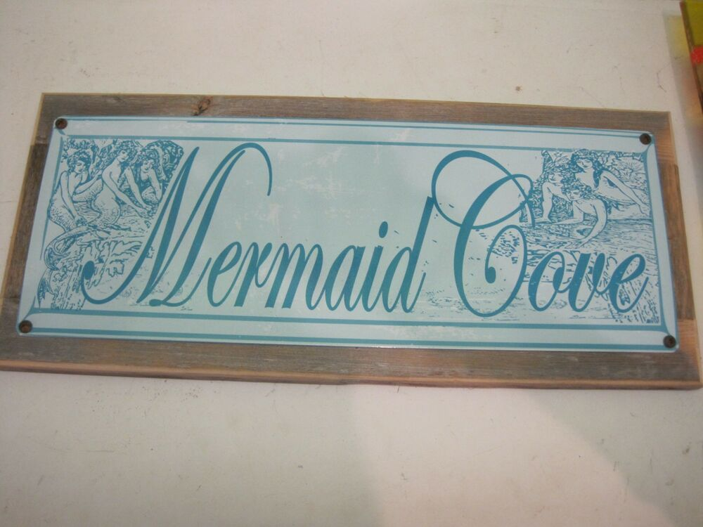Mermaid cove sign blue wooden sign beach decor for Sign decoration