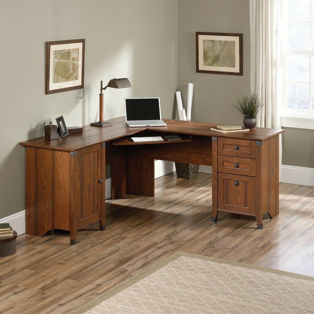 Corner Computer Desk - Washington Cherry - Carson Forge Collection