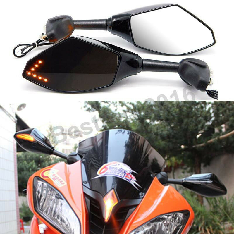 Led turn signal rear view mirrors for 1999 2000 2001 for Yamaha r6 aftermarket mirrors