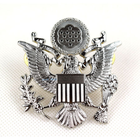 img-Replica US Army Officer Cap Eagle Badge Insignia Silver