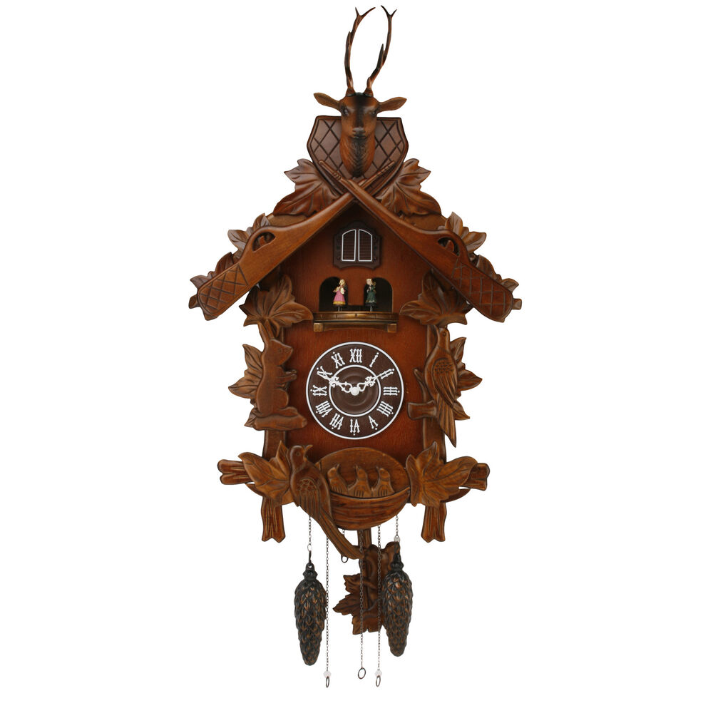 Large Carved Wood Cuckoo Wall Clock With Music Dancing