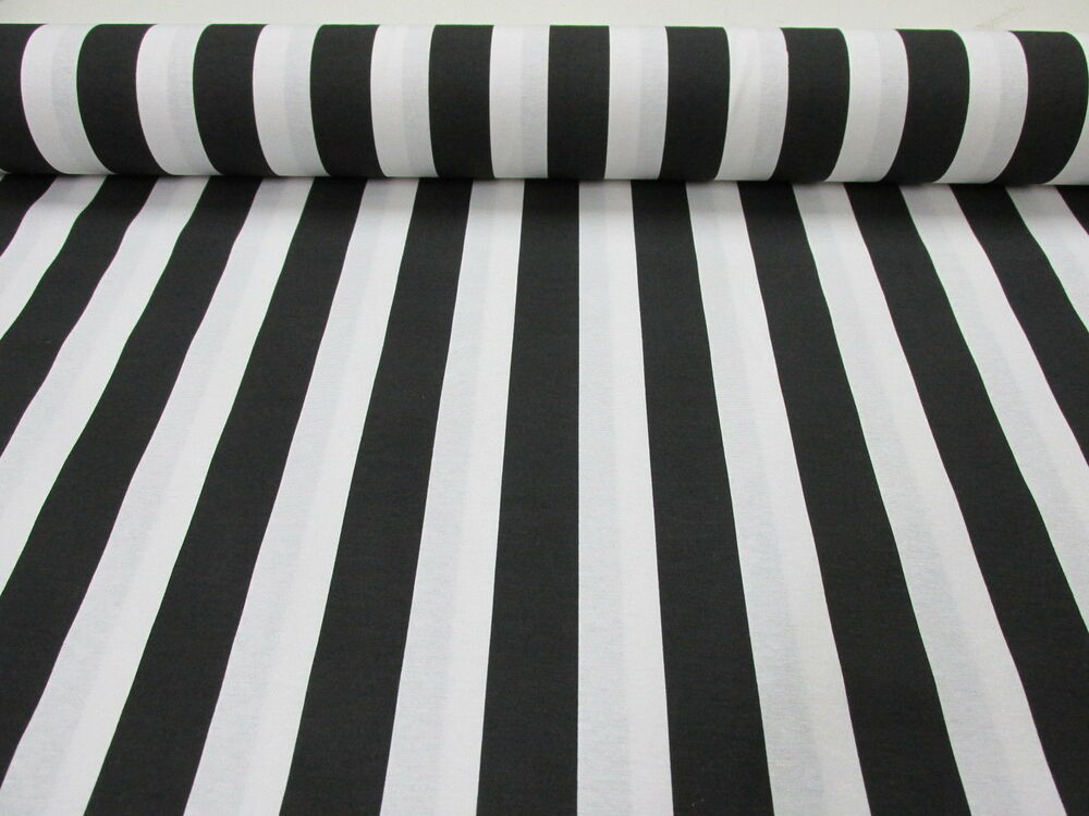 black white striped fabric sofia stripes curtain upholstery material 140cm wide ebay. Black Bedroom Furniture Sets. Home Design Ideas