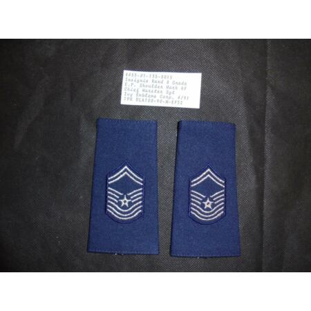 img-USAF US Air Force Chief Master Sgt Rank Slides / Badge / Patch Pair