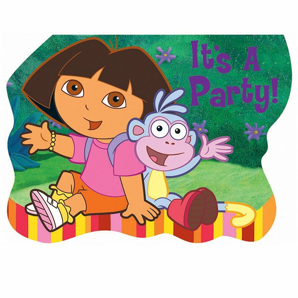 Details about Nick Jr Dora the Explorer Invitations It's A Party 8pc Lot of 2 (NEW)