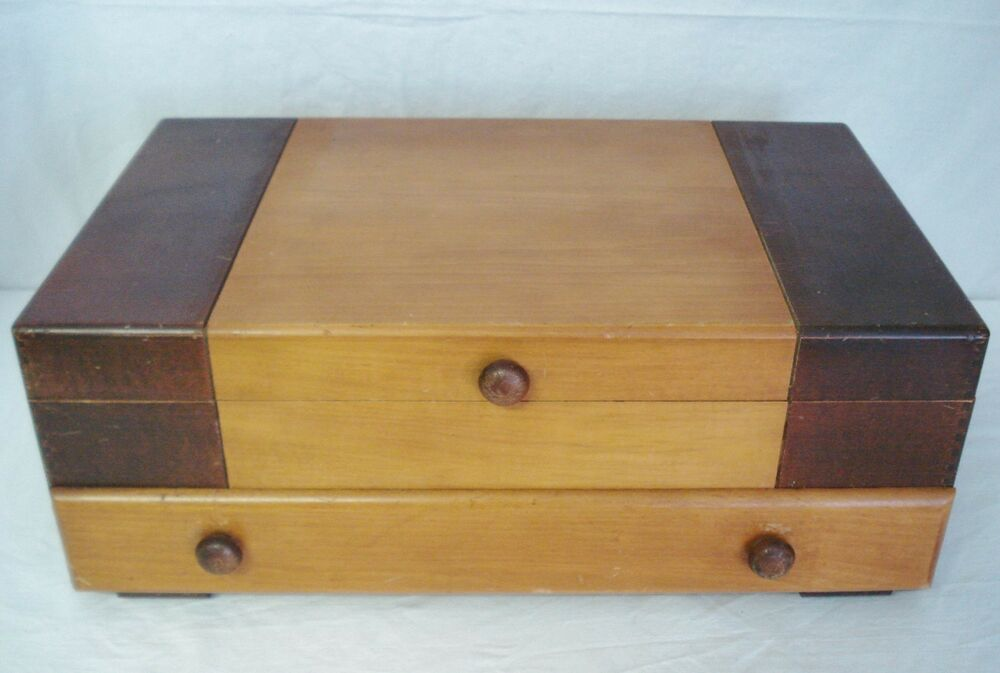 Vintage flatware storage chest box 1 drawer 2 tone art for Box for flatware storage