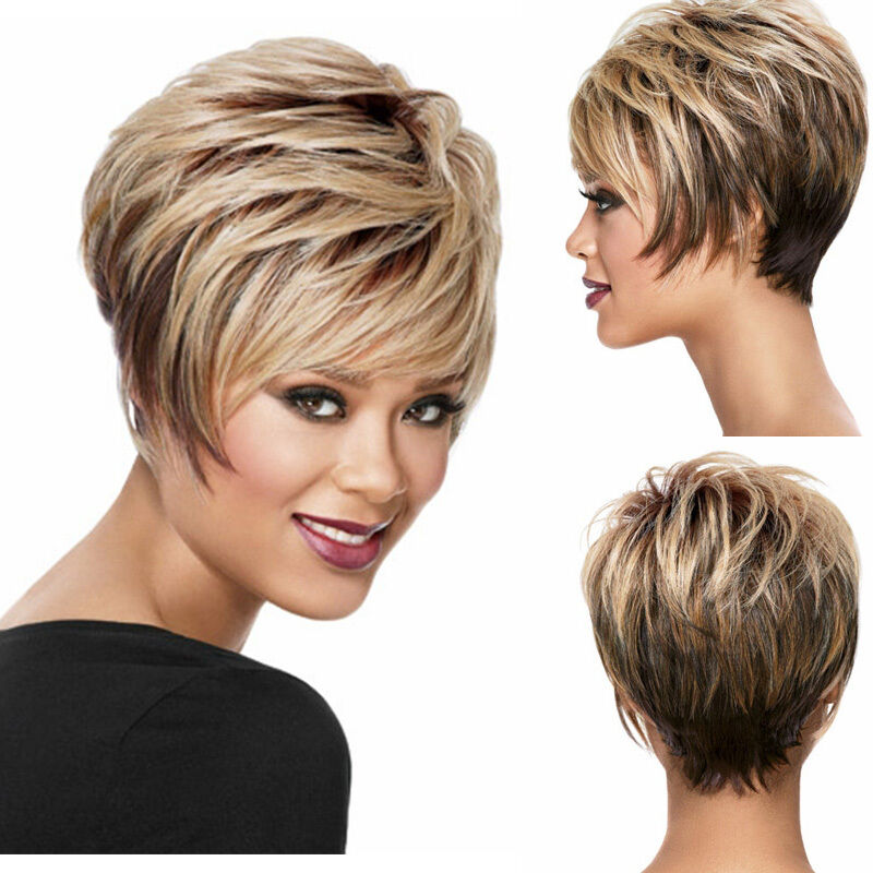 Short pixie Wigs For Black Women Ombre Blonde Dark Brown