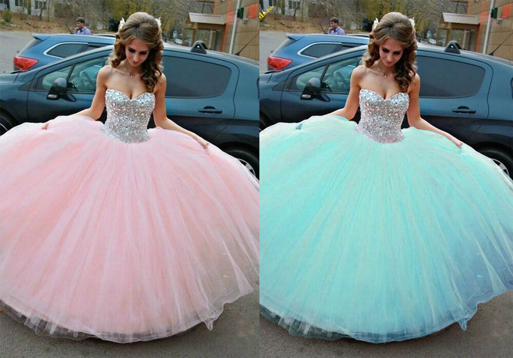Sparkly Ball Gown Wedding Dresses: Sparkly Quinceanera Dresses Rhinestone Sweetheart Wedding