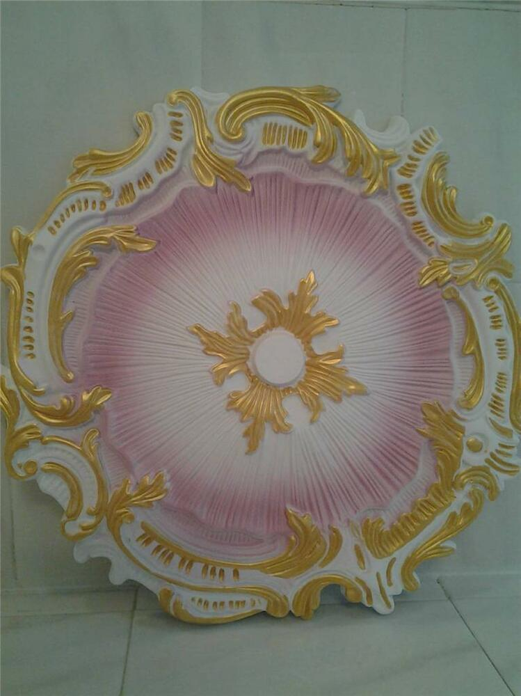 Shabby Cottage Chic Ceiling Medallion Pink White Gold