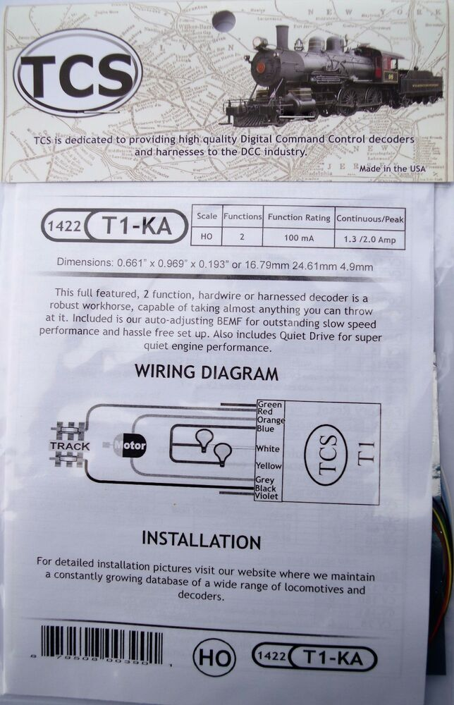 DCC TCS T1-KA, T1 2 function, decoder wired to connect to Keep Alive ...