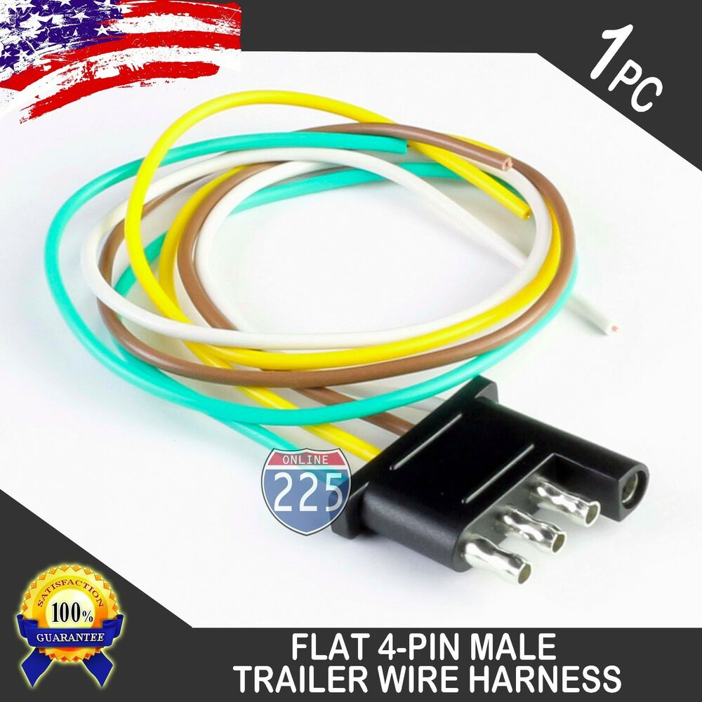 16 Male Trailer End Light Wiring Harness 18 Awg Gpt Copper Wire 4 Pin Way Flat Usa Ebay
