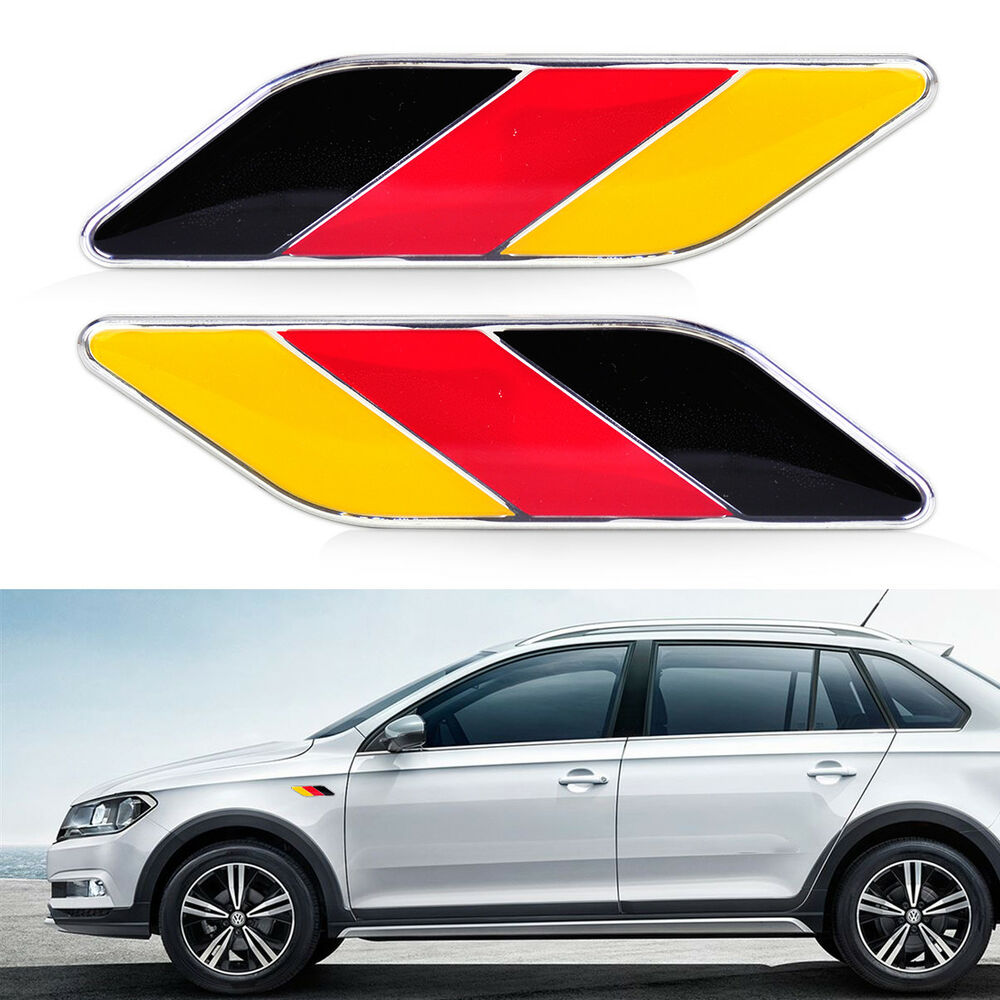 2x Auto Car German Germany Flag Emblem Badge Stripes