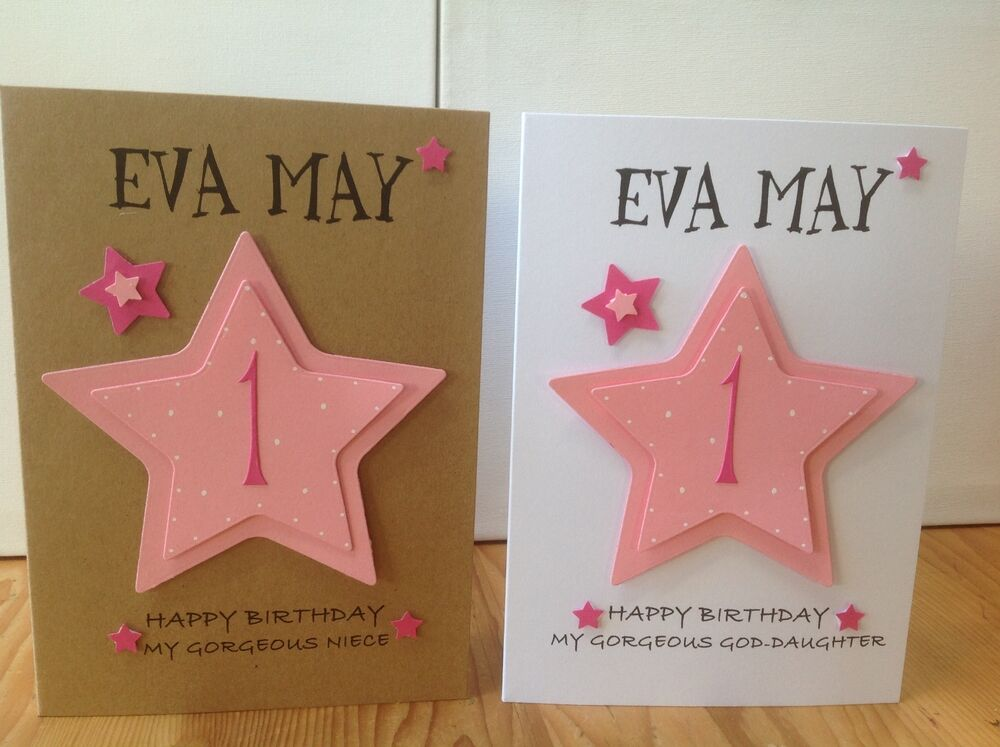 Handmade 1st Birthday Personalised Card Daughtergranddaughter