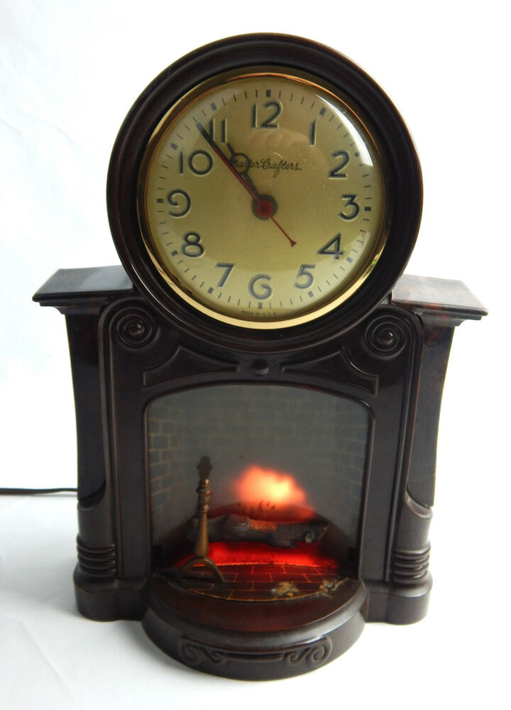 Mastercrafters No 272 Fireplace Mantle Clock Keeps Time Light Motor Also Work Ebay