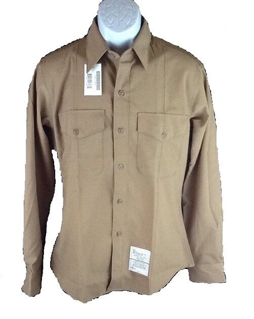 Men 39 s casual military style long sleeve khaki shirt multi for Where to buy casual dress shirts