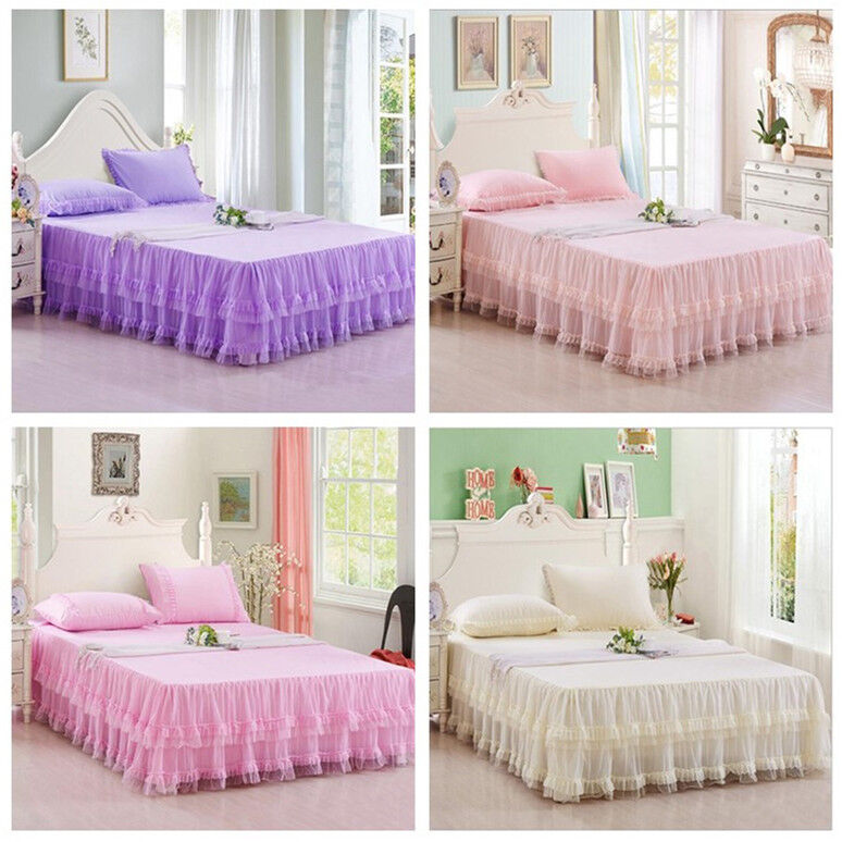 pink princess lace fitted sheet layered bed skirt bed sheet queen king size ebay. Black Bedroom Furniture Sets. Home Design Ideas